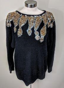 laura winston Sweaters - Sequined Silk & Angora Sweater